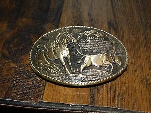 Vintage Tony Lama Rodeo Hall of Fame  CALF ROPING Cowboy  BRASS BELT BUCKLE