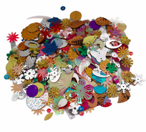 50g Mixed Sized Design Sequins Spangles Craft Sewing Art 500+ Embellishments