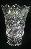 Elegant Deep Clear Cut Crystal Glass Pedestal Hurricane Candle Holder or Vase