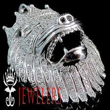 10K White Gold Finish Simu Diamond King Lion Head Crown Pendant Pave Charm 2''