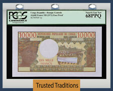 TT PK 1p CONGO REPUBLIC 10000 FRANCS PCGS 68 PPQ SUPERB GEM NEW POP 3 NONE FINER