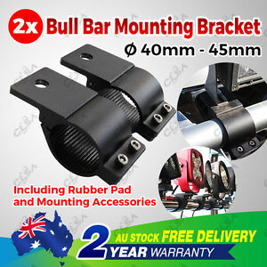 Pair 1.6'' Bullbar Mounting Bracket Clamp 40 45mm LED Work Light Bar UHF Antenna