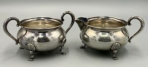 Fisher Shell Footed Sterling Silver Sugar and Creamer 710 Rare 1950s 148 Grams