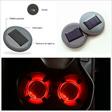 2 Pcs Car Off-Road Solar Charging Cup Holder Bottom Pad Red LED Light Cover Trim