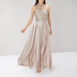 New Coast Petra High Neck Lace Maxi Dress 6 8  Oyster RRP £179 BEAUTIFUL!