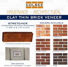 Clay Thin Brick Veneer - Handmade - COLBEE - Stretcher - 54 pcs Box 6.2 sqft.