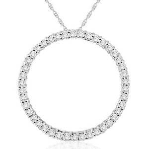1 Ct Real Diamond Circle Of Life Eternity Round Pendant 14K White Gold (1 inch