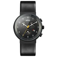 NEW RRP £190 Braun BN0035BKBKG Mens Chronograph All Black Watch