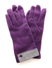 Ladies Wool Gloves PURPLE with Houndstooth Cuff Detail