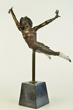 Signed Semi Nude Acrobat Girl By Lucie Statue Figurine Bronze Sculpture Figure