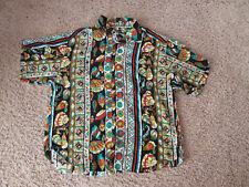 Vintage Guess By Georges Marciano Hawaiian Tropical Fish shells Rayon Shirt XL