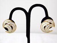 Vintage Crown Trifari White Enamel Crescent Clip on Earrings Goldtone Metal