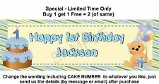Personalised 1st Baby or Boy Birthday Party Banner Sign, Teddy Bear & Cake, Blue
