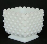 "FENTON WHITE MILK GLASS HOBNAIL 4 1/2"" SQUARE PLANTER - SCALLOPED TOP EDGE ~RARE"