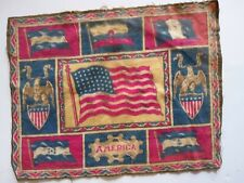 "Tobacco Felt 8.5 "" × 10.5"" 48 Star American Flag Surrounded by Flags & Shields"