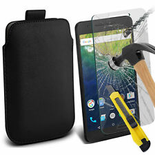 Black PU Leather Pull Tab Case Pouch & Glass for Huawei Nexus 6P