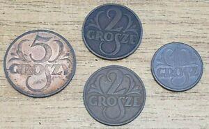 Poland 1939 5 Grosze 1932 1933 2 Grosze 1936 1 Grosz