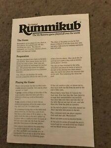 Rummikub Game, Set Of Instructions. Genuine Spears Games Part.