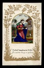 santino incisione 1800 LA SANTA VERGINE IN PREGHIERA dip. a mano