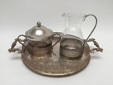 Made in England Silver Plate Sugar Creamer Handled Tray set
