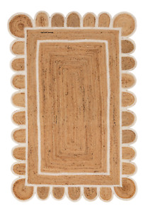 Scalloped Rug 100% Natural Jute Braided Style Handmade Rustic Look Area Rugs