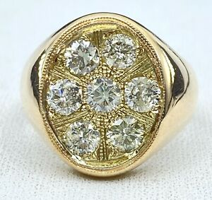 1.88 ct NATURAL DIAMOND mens oval cluster pinky ring 14 k rose gold ( SEE VIDEO)