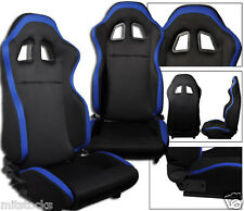 NEW 2 BLACK & BLUE CLOTH RACING SEATS RECLINABLE ALL CHEVROLET *****