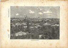 Stampa antica BUCAREST BUCURESTI veduta panoramica 1893 Old Antique Print