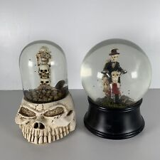 More details for 2x snow globe ball halloween ghost rider ash globe musical wind up decoration