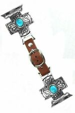 Silver Cross Turquoise fits APPLE Brown Vegan Leather Watch Band Western 38-40mm