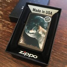 Zippo 218 WOLF AND MOON Full Size Windproof New Black Matte Lighter