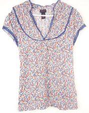 Torrid Womens Shirt Plus Size 2X 2 Blue Floral Thin Short Sleeve Tie Back