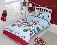 """Rapport """"Let It Snow"""" Kids Children's Snowman Duvet Cover Bedding Set"""