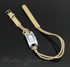 38CM DESIGNER GOLD REAL LEATHER DOUBLE BRACELET GIRLS LADIES WRIST WATCH 15 INCH