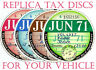 TAX DISCS~6 QUALITY REPLICAS FOR  DISCERNING OWNERS. ALL YEARS FROM 1921 =+> ON