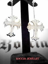 with Diamonds by Roccia Silver Gothic Cross Earrings