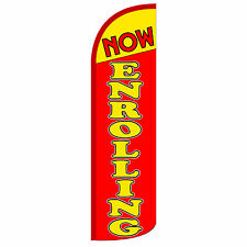 Now Enrolling Banner Sign Flag Windless Swooper Feather Tall 3' Wide Red