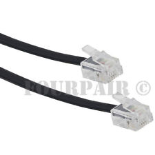 25ft Telephone Line Cord Cable 6P6C RJ12 RJ11 DSL Modem Fax Phone to Wall Black