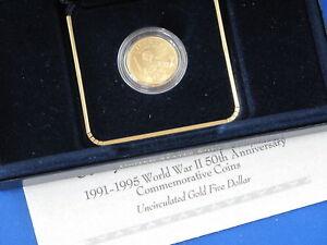 1993 World War II 50th Anniversary BU $5.00 Gold B4215