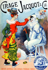 """Clown poster Vintage Art Nouveau 1890's French Poster 11.7"""" x 16.5"""""""