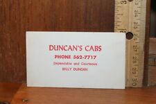 Vintage LaFollette Tennessee Duncan'S Cabs Business Card