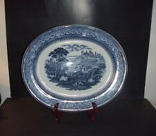 "Antique John Ridgway Cauldon Byzantium Platter 17"" Blue & White  C. 1840's"