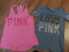 VS Victoria's secret PINK lot/2 tops ~ 1 tank top racerback & 1 t-shirt medium