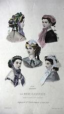 GRAVURE MODE ANCIENNE 19e - LA MODE ILLUSTREE 1866 - ORIGINALE - LES COIFFES