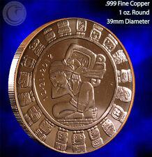 """""""Mayan Calendar"""" Copper 1oz .999 Fine Copper Beautiful Round"""