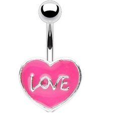 """PiercedOff Pink Enamel Heart with """"Love"""" Belly Bar"""