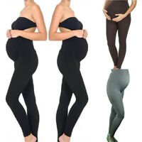 Women Maternity Leggings Solid Seamless Yoga Pants Stretch Pregnancy Trousers ED