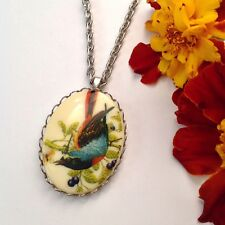Tropical bird cameo necklace, Nature girl pendant, Classic jewellery gift