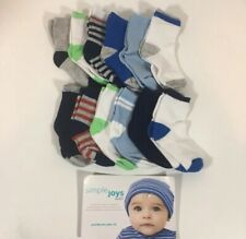 Simple Joys by Carter's Boys' 12-Pack Socks, Blue/White/Grey, Size 3-12 Months
