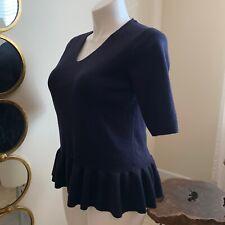 NEW Ann Taylor Large Navy Blue V-Neck Elbow Sleeve Peplum Wool Blend Sweater $79